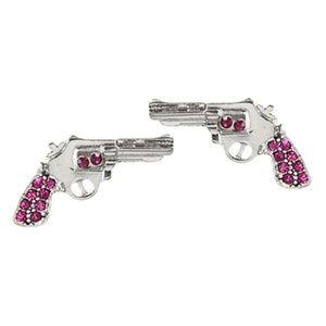 Pistol Packin Babe Stud Earrings - PINK